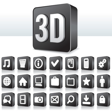 3D Apps Icon. Collection of Technology Pictogram on Square Buttons Stock Photo - 22954186