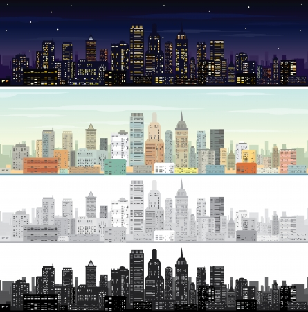 City Landscape at Day and Night Time. photo