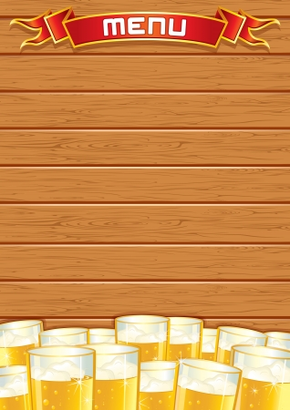 Blank Pub Menu. Wooden Background photo