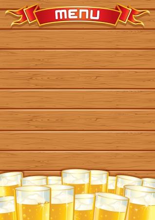 beer stein: Blank Pub Menu. Wooden Background Stock Photo