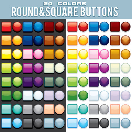 rectangle button: Set of Colored Web Buttons. Multicolored Square & Round Buttons. Colorful Design Elements
