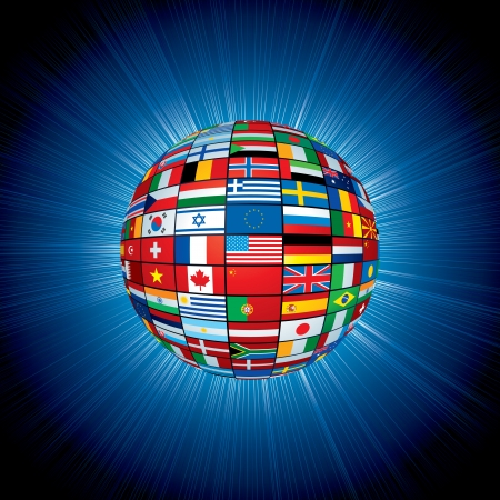 Flags Globe in Abstract Space Background. Original Vector Illustration illustration