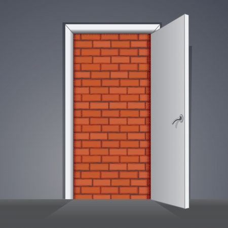 no way out: Bricked Door. Illustration of Door to Nowhere or No Way Out Stock Photo