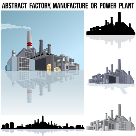Abstract Industrial Factory, Manufacture Building or Power Plant.