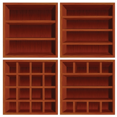 mahogany: Empty Wooden Cell Shelf. Dark Red Wood Set