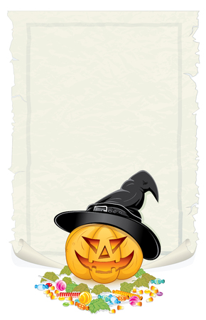 Halloween Background. Jack O Lantern with Candies and Blank Poster for Text. photo