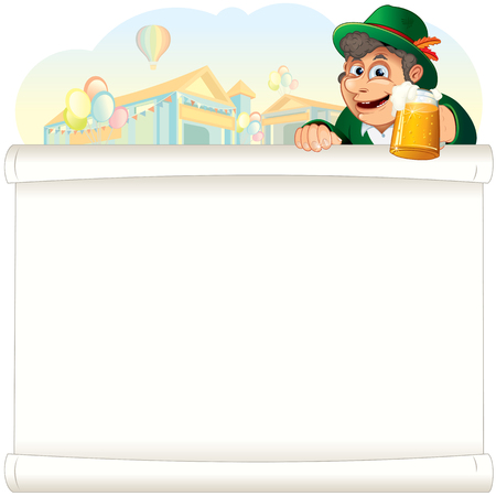 beer stein: Happy Bavarian Guy with Beer Stein. Oktoberfest Background with Tents. Cartoon Illustration Stock Photo