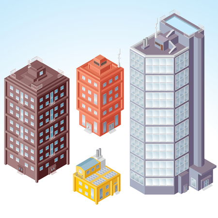 Detailed isometric vector Buildings, Houses, set #1 photo