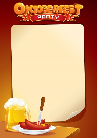 place card: Oktoberfest Background with Beer and Food. Stock Photo