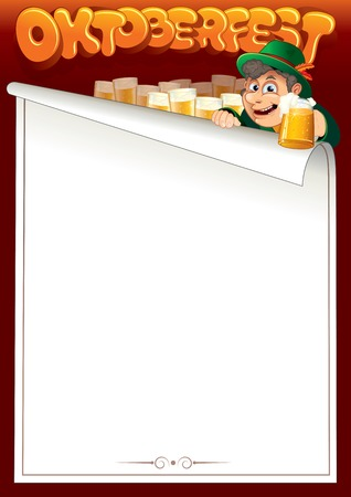 fest: Cartoon Bavarian Man with Beer. Oktoberfest Background with Free Space for Text or Menu