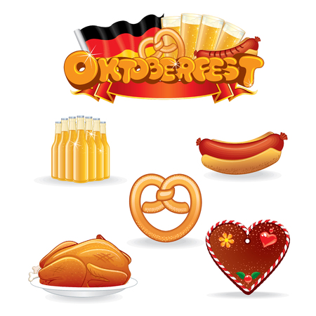 oktoberfest food: Oktoberfest Food and Drink Icons. Illustration of Various Beverages and Snacks. Stock Photo