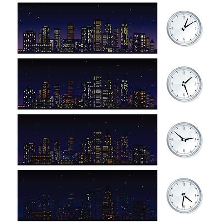 Night Time Skyline. Satz von Illustrationen