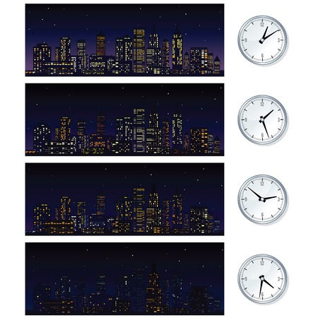 Night Time Skyline. Set of Illustrations illustration