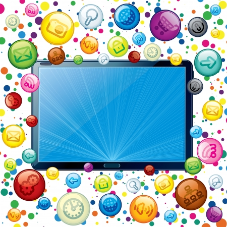 Tablet PC with Cloud of Apps Icons. Vector Concept Stock Photo - 22954800