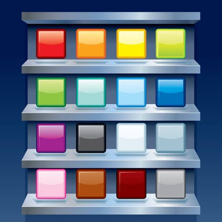 Set of Colorful Apps Icons on Metal Shelfs. Blank Template Stock Photo - 22954803