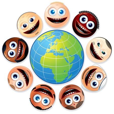 multiracial group: Feliz sonriente grupo multirracial de caras sonrientes alrededor del globo colorido.