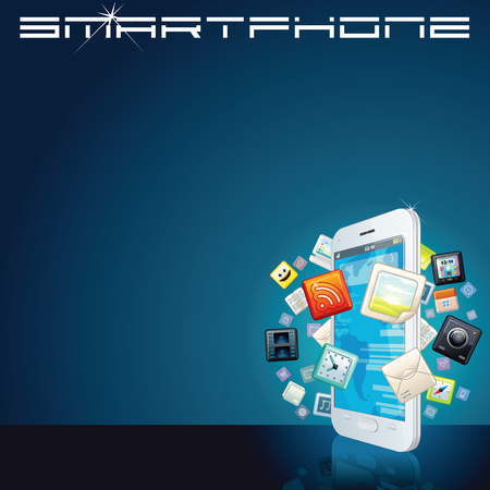 White Smart Phone with App Icons. Background photo