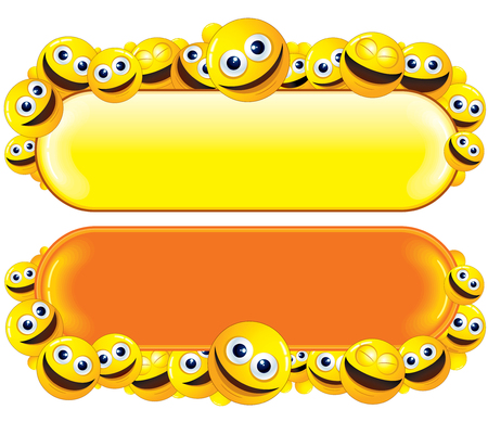 round face: Funny Banner with Smiley Faces Stock Photo
