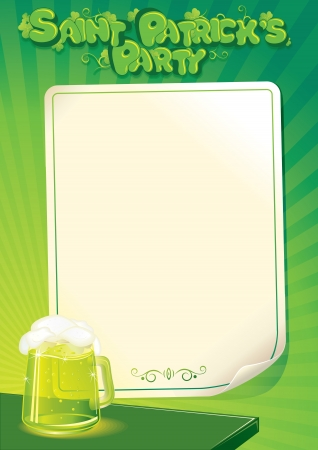 Saint Patricks Day Party Background. Template of Poster, Menu or Flyer. photo