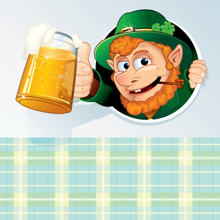 patrick banner: Happy St. Patricks Day. Template of Card with Drunk Leprechaun