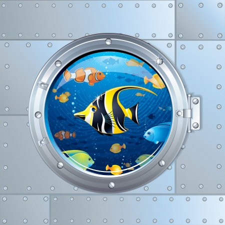 Cartoon Illustration. Porthole and Colorful Fishes illustration