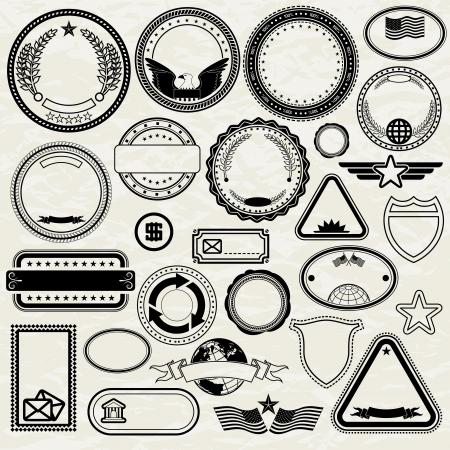 Set of Various Stamp Design. Blank Templates photo