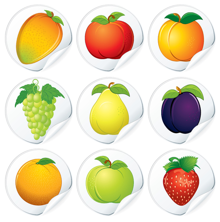 Set of Isolated Stickers with Fresh Fruit Icons photo