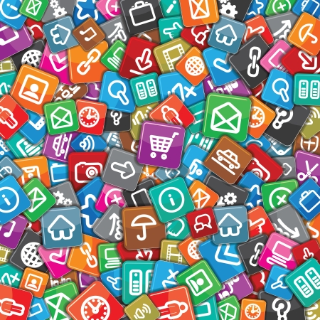 Background with Random Multicolored Web Icons. Stock Photo - 22956424