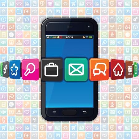 Smart Phone met Internet pictogrammen. Technologie Illustratie