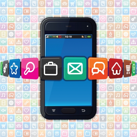 programm: Smart Phone with Internet Icons. Technology Illustration