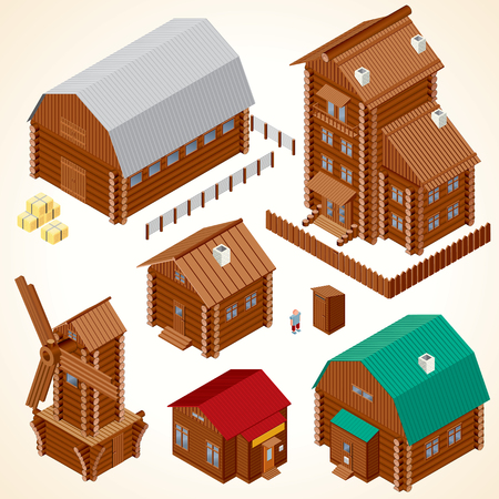 Isometric Wooden Houses. Rural House, Log Cabin, Wood Windmill, Rustic Outhouse, Farm Barn and Large Cottage. photo