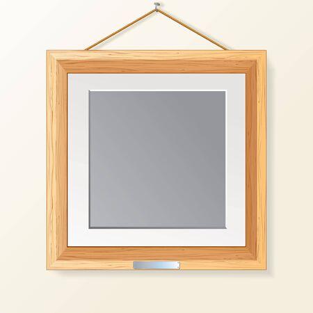 ahorcada: En blanco de madera Marco de fotos en la pared Foto de archivo