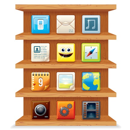 Wood Shelves with Computer Apps Icons. photo