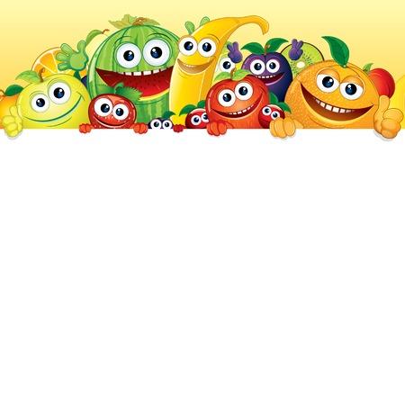 frutas divertidas: Fruta de la historieta y de las bayas con fondo blanco Foto de archivo