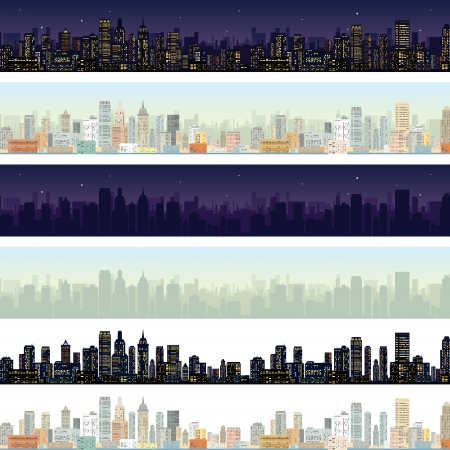 Wide Cityscape at Different Time. Skyline of Modern City Downtown at Daylight, Midnight. photo