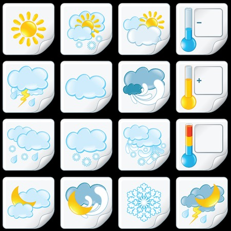 Cartoon Weather Forecast Icons. Paper Stickers photo
