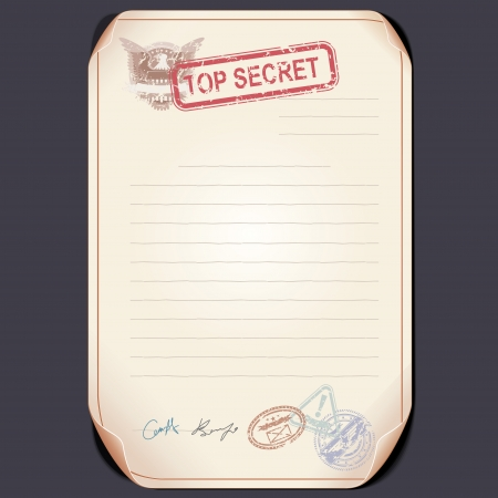 Old Top Secret Document on Table. Blank Template photo