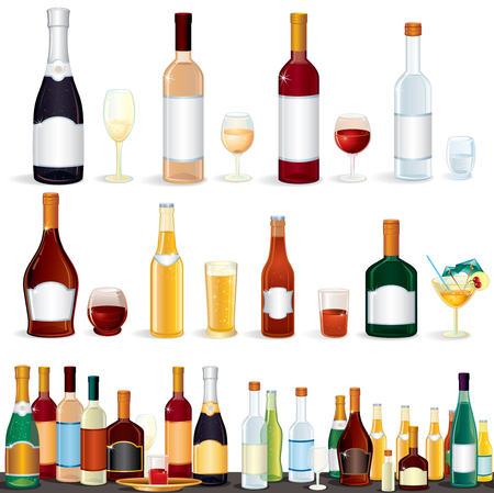 glassware: Alcohol Beverages Collection Stock Photo