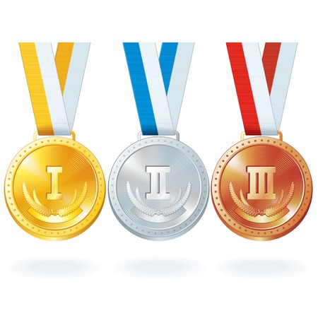 Three Medals. Gold, Silver and Bronze
