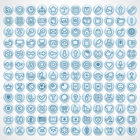 Large Collection of Shiny Computer Icons Stock Photo - 22958125