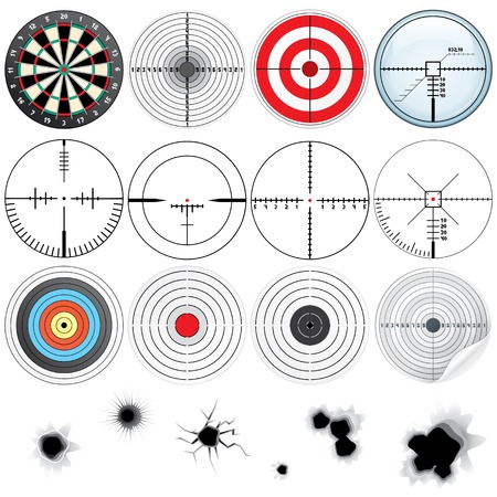 bullet icon: Set of Different Detailed Crosshairs and Targets. Stock Photo