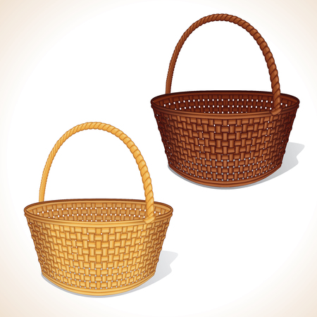 bast basket: Isolated Woven Baskets