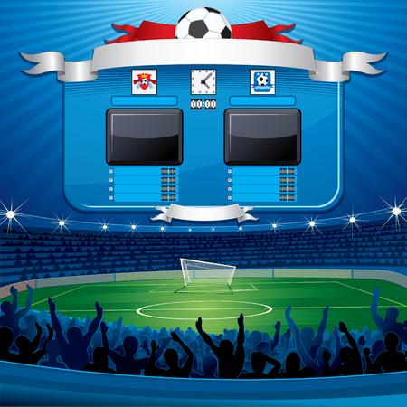 deportes caricatura: Marcador de fútbol vacío.