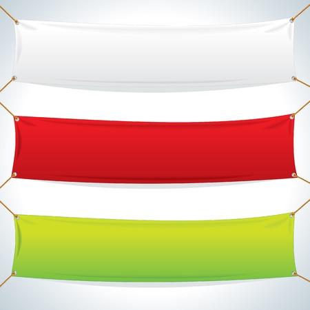 Illustratie van lege Textiel Banners. Objecten op een witte achtergrond