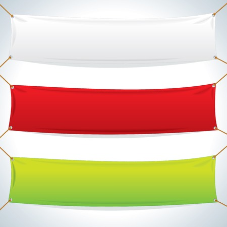 polo: Ilustración de banners Tejidos vacíos. Aislado en el fondo blanco Foto de archivo
