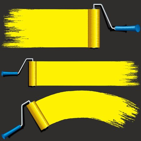 rollers: Isolated Yellow Paint Rollers. Illustration