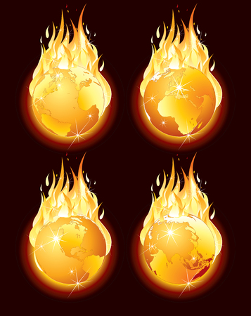 Burning Planet Earth, Conceptual Illustration illustration