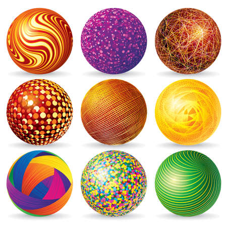 Collection of Abstract Spheres & Globes Isolated on White. Illustration for Your Design. illustration