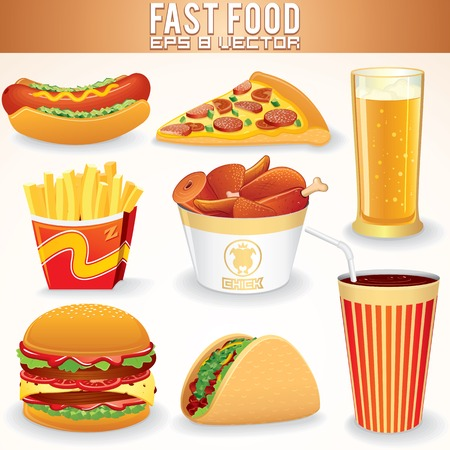junk: Fast Food Icons. Hot Dog, Pizza, Fries, Hamburger, Beef Tacos, Fried Chicken, Beer and Lemonade Stock Photo