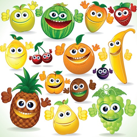 friends eating: Various Funny Cartoon Fruits. Colorful  Clip art